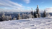 harikalar diyarı : Carpathian mountains covered with snow and strong wind. Clear frosty weather