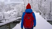 karpaty : Young woman walks across the bridge across the river. Beautiful winter snow-covered landscape