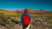Тенерифе : Active hiker woman hiking on Teide National Park. Caucasian young woman with backpack on Tenerife, Canary Islands, Spain. Slow motion Стоковые видеозаписи