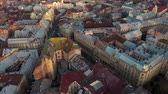 katedral : Aerial view of the historical center of Lviv. Shooting with drone Stok Video