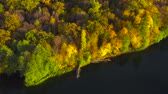 밀림 : Aerial view of the lake and the bright autumn forest on its shore. Forest is reflected on the surface of the lake
