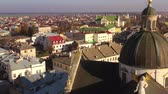 Украина : Aerial view of the historical center of Zhovkva, Lviv region, Ukraine. Shooting with drone