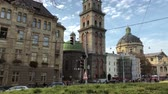 katedral : View of the historical center of Lviv. Hyperlapse