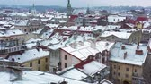 Украина : Aerial view of the historical center of Lviv in winter. Shooting with drone Стоковые видеозаписи