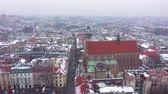 wisła : Aerial view of the historical center of Krakow, church, Wawel Royal Castle in winter