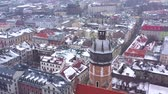 katedral : Aerial view of the historical center of Krakow, church, Wawel Royal Castle in winter