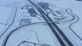 logistika : Aerial view of a highway in Poland in winter Dostupné videozáznamy
