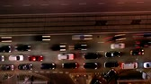 velocidade : Night city traffic in the center of Warsaw, Poland. Timelapse. Aerial view