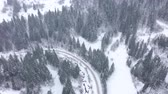 Украина : Aerial view of a car driving along a road surrounded by winter forest Стоковые видеозаписи