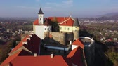 도시 : Aerial view of the medieval castle Palanok, Mukachevo, Transcarpathia, Ukraine 무비클립