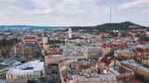 도시 : Hyperlapse of the historical center of Lviv, Aerial view.