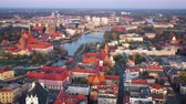 도시 : View from the height on the historic city center and the Odra River. Stare Myasto, Wroclaw, Poland. Filmed at different speeds - accelerated and normal 무비클립
