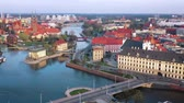 도시 : View from the height on the historic city center and the Odra River. Stare Myasto, Wroclaw, Poland