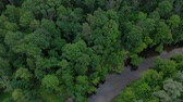 Украина : Aerial view of the beautiful landscape - the river flows among the green deciduous forest. Filmed at different speeds - accelerated and normal