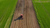 agricultura : Aerial view of tractor performs seeding on the field