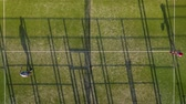 tribunal : View from the height of the tennis court where people play in the tennis