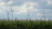 propeller : Eco power. Wind turbines generating electricity. Stock Footage