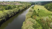 kırsal bölge : Drone Shot of a River  in Temperate Climate Zone. Europe, Ukraine, Vinnytsia. Aerial. Pivdenny Buh. Stok Video