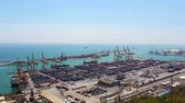 modernism : Barcelona Port Panorama, Real Time, Spain, 4k Stock Footage