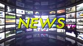 informar : NEWS Text Animation in Monitors Room, Rendering, Background, Technology, Loop, 4k Stock Footage