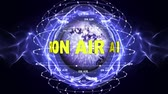 sinal de alerta : ON AIR Text Animation Around the Earth Disco Ball, Rendering, Background, Loop Stock Footage
