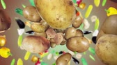клубень : Falling Potato Background, Animation, Rendering, with Alpha Channel