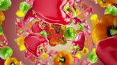 Falling Peppers Background, Animation, Rendering, with Alpha Channel