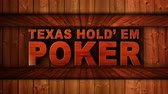 Техас : TEXAS HOLD EM POKER Text Animation in Wood Gate and Slot Machine Combination, Background, Rendering, Loop