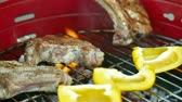 chargrilled : Barbecue Grill At Weekend Stock Footage