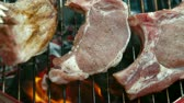 chargrilled : Flame Grilled Steak On Barbecue Stock Footage