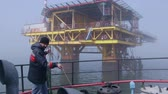 field : Sea of Azov, Crimea - March 28, 2014: Offshore gas production platform in the East-Kazantip field Stock Footage