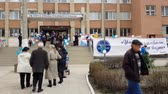 polling place : CRIMEA, SIMFEROPOL - MARCH 18, 2018: Russian presidential election in Crimea, 2018. Polling station in Simferopol. Citizens of Crimea votes for first time in Russian elections.