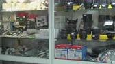 photography shot : Interior of camera store. Showcase with used photography cameras and equipment Stock Footage