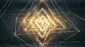 metaphysics : Magical golden yellow Octahedron releasing particle waves and light into an abstract dreamy space.  One of 5 Platonic Solids, representing the Element Air.