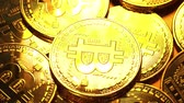 Gold coin bitcoin. Macro shot. 4K video. Stock Footage