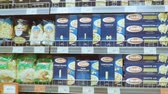 soupon : Kaliningrad - June 2017 Russian. Pasta on the shelf in the supermarket. Stock Footage