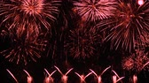 с Новым годом : Firework display. New Year celebration fireworks. Christmas background. 4K UHD