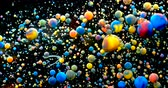молекула : Slow Motion Bright Colors Bubbles Oil Beautiful Paint Universe Color Moving Multicolored Closeup. Acrylic Paint. Fantastic Surface. Abstract Colorful Paint Metamorphosis Structure Colorful Bubbles