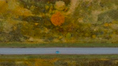 путь : View From Above. Aerial View Flying Above Fall Nature Road Running Through Countryside. Road in Autumn Scenery Aerial Shot. Blue Car Driving on Road Leading Through Colorful Landscape on Autumn Day.