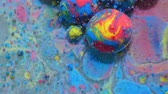metamorfosi : Slow Motion Bright Colors Blue and Red Bubbles Oil Beautiful Paint Universe Color Moving Multicolored. Acrylic Paint. Fantastic Hypnotic Surface. Abstract Colorful Paint Metamorphosis Structure.