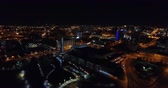 convention : Aerial View, Knoxville, Tennessee, USA downtown at night, Convention center 4k Stock Footage