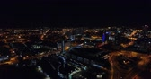 ás : Aerial View, Knoxville, Tennessee, USA downtown at night, Convention center 4k Stock Footage