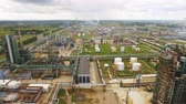 fuel and power generation : Aerial view of Oil Gas Refinery. Yaroslavl 4K