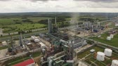 oil industry : Aerial view of Oil Gas Refinery. Yaroslavl 4K