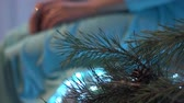 emaranhado : Pine branch on a background of beautiful brunette woman in a turquoise dress sitting on a luxury sofa. Vídeos