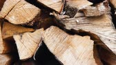 keser : The chopped and sawn trunks of trees is stacked in a large log woodpile in the yard. Stacked firewood prepared for the fireplace and stove, dolly shot. Stok Video