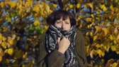 congelação : A young woman in a green knitted sweater is wrapped in a warm scarf against the yellow foliage in the city Park in the Indian summer.