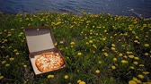 graxa : Cardboard box with delicious, fresh, appetizing pizza on coast in dandelions, small waves roll ashore, space for text. Concept of summer fast food and rest.