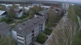 Roof of town apartment building aerial video