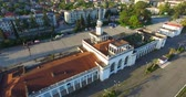 çatılar : Top view of the old and ruined building of the railway station in Sukhumi.
